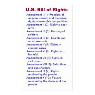 U.S. Bill of Rights ~ First 10 Amendments ~ Business Card