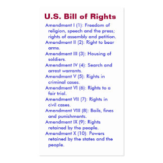 U.S. Bill of Rights ~ First 10 Amendments ~ Double-Sided Standard Business Cards (Pack Of 100)