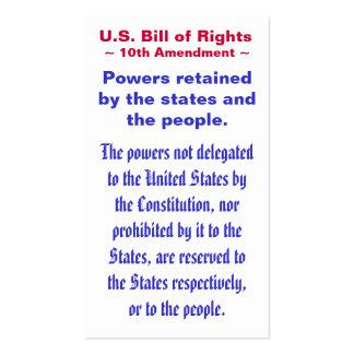 U.S. Bill of Rights, ~ Tenth (10th) Amendment ~ Business Card