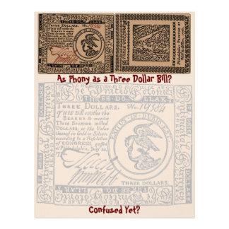 U.S. Billete de dólar tres: ¿Confuso? - Papel con  Membrete A Diseño