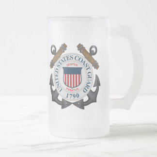 U.S.C.G. FROSTED GLASS BEER MUG