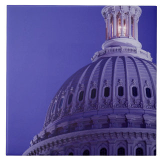U.S Capitol at dusk with light in dome on Tiles
