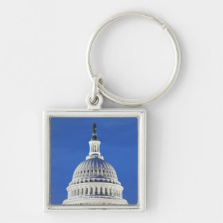 U.S. Capitol dome Silver-Colored Square Keychain