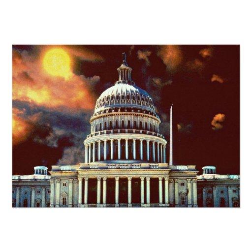 U.S. Capitol with sun Personalized Invitations