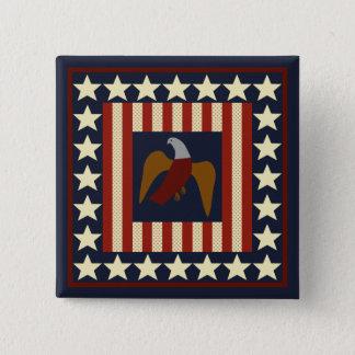 U.S. Civil War Era Union Eagle Quilt-like Square Pinback Button