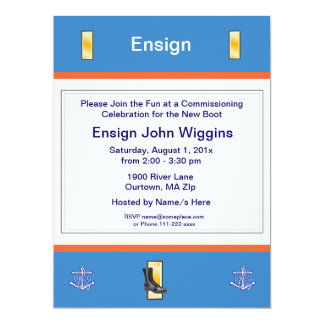 U.S. Coast Guard Ensign Commissioning Party Invita Card