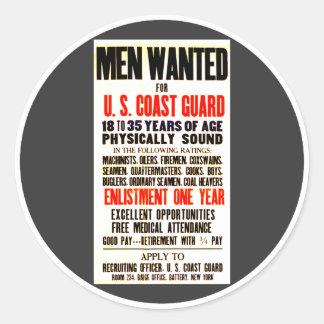 U.S. Coast Guard Men Wanted 1914 Classic Round Sticker