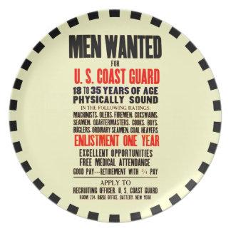 U.S. COAST GUARD MEN WANTED 1914 PARTY PLATE