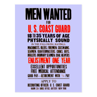 U.S. Coast Guard Men Wanted 1914 Postcard