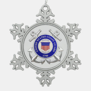 U.s.coast Guard Pewter Snowflake Ornament at Zazzle