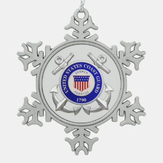 U.S.Coast Guard Pewter Snowflake Ornament