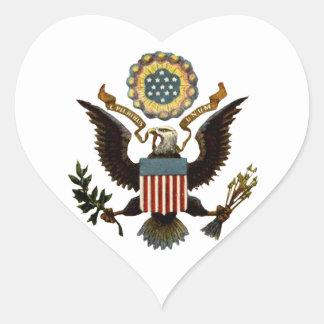 U.S. COAT OF ARMS HEART STICKER