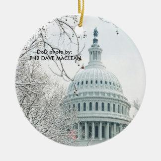 U.S Congress in Winter Ceramic Ornament