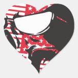 U.S. Cráneo de la bandera Pegatinas Corazon Personalizadas