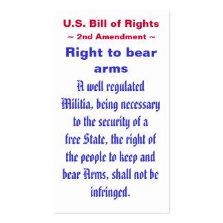 U.S. De la Declaración de Derechos del ~ 2do) ~ de Plantilla De Tarjeta De Negocio