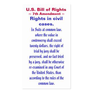 U.S. Declaración de Derechos, 7mo) ~ de la Tarjetas De Visita