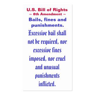 U.S. Declaración de Derechos, 8vo) ~ de la Tarjetas De Visita