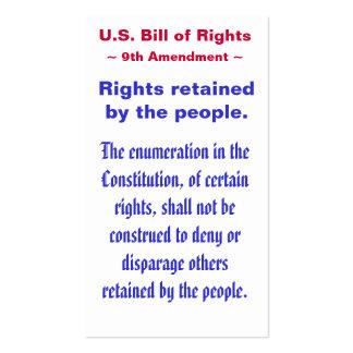 U.S. Declaración de Derechos, 9no) ~ de la Tarjetas De Visita