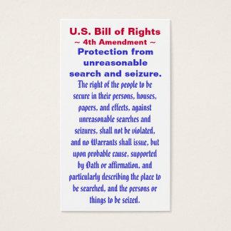 U.S. Declaración de Derechos, cuarto (4to) ~ de la Tarjetas De Visita