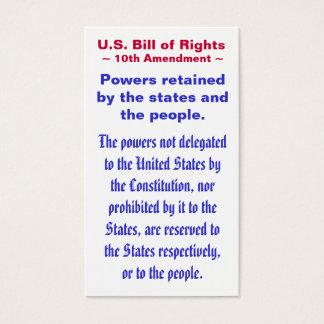 U.S. Declaración de Derechos, décimo (10mo) ~ de Tarjetas De Visita