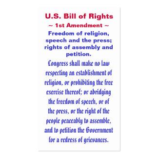 U.S. Declaración de Derechos, primer (1r) ~ de la Tarjetas De Visita