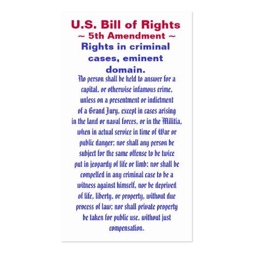 U.S. Declaración de Derechos, quinto (5to) ~ de la Tarjeta De Visita