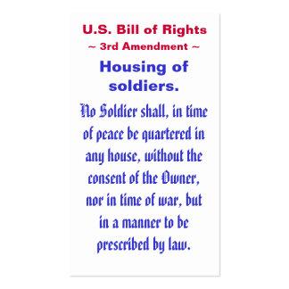 U.S. Declaración de Derechos, tercer (3ro) ~ de la Tarjetas De Visita