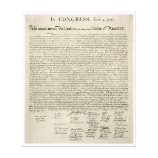 U S Declaration of Independence 1823 Facsimile Canvas Print