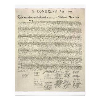U S Declaration of Independence 1823 Facsimile Personalized Invite