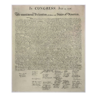 U S Declaration of Independence 1823 Facsimile Print