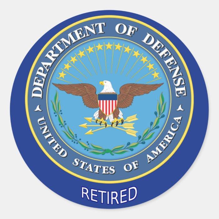 U.S. Defense Department Retired Classic Round Sticker