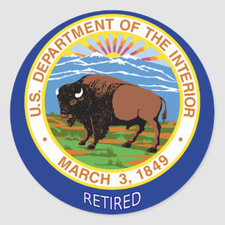 U.S. Department Of The Interior Retired Classic Round Sticker