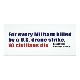 U.S. Drone Strike Militant Civilian Kill Ratio 4x9.25 Paper Invitation Card