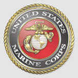 U.S. El Cuerpo del Marines (USMC) simboliza [3D] Pegatina Redonda
