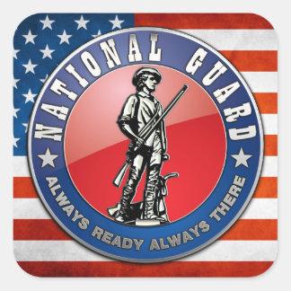 U S Emblema del Guardia Nacional Pegatina Cuadradas Personalizada