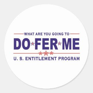 U. S. entitlement program Round Stickers