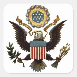 U.S. ESCUDO DE ARMAS PEGATINA CUADRADA