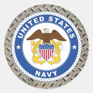 U.S. Escudo del oficial de la marina de guerra el Pegatina Redonda