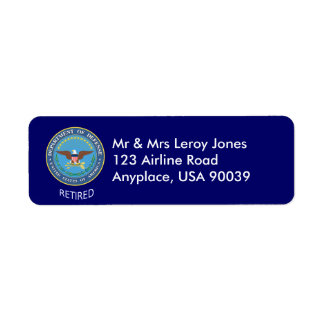 U.S. Etiqueta jubilada Departamento de Defensa Etiqueta De Remite