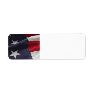 U.S. flag close up label