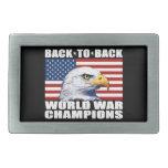 U.S. Flag & Eagle World War Champions Belt Buckle
