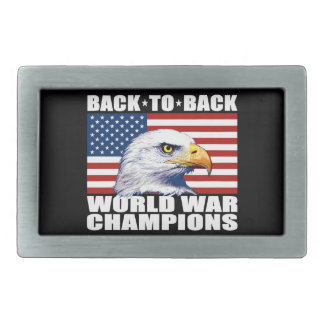 U.S. Flag & Eagle World War Champions Rectangular Belt Buckles