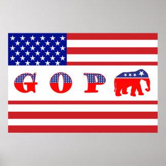 U.S. Flag - G O P - Elephant Poster
