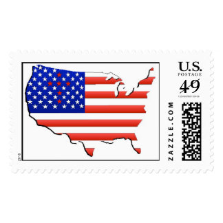U S Flag in map outline postage stamps