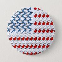 U.S. Flag of Birds Round Button