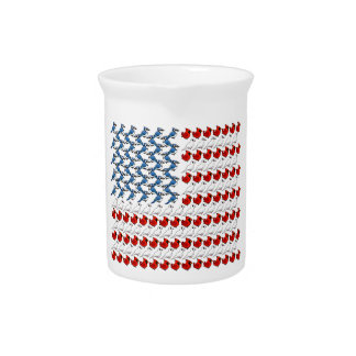 U.S. Flag of Birds Drink Pitcher