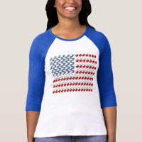 U.S. Flag of Birds Ladies Raglan Fitted T-Shirt