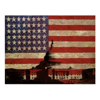 U.S.Flag Postcard with Silhouette of Capitol Hill
