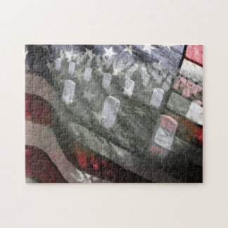 U.S. flag with graves Jigsaw Puzzle