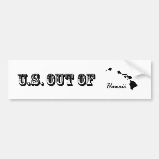 U.S. Fuera de Hawaii Etiqueta De Parachoque